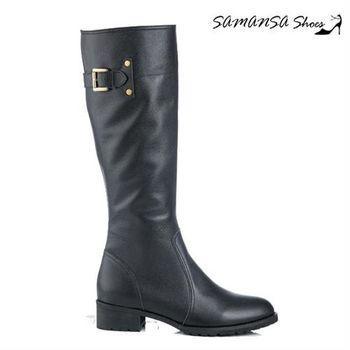 莎曼莎手工鞋【MIT全真皮】 極簡約側拉鍊造型綴環平底長靴 -14907 經典黑