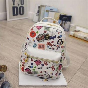 【米蘭精品】後背包可愛印花雙肩包卡通圖案學生書包時尚2色73fd45