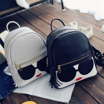 【米蘭精品】後背包眼鏡雙肩包韓版街頭潮流時尚3色73fd22