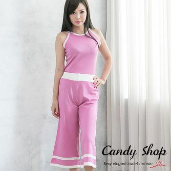 Candy 小鋪 針織拼接配色削肩兩件式套裝(黑/藍/粉紅)3個色