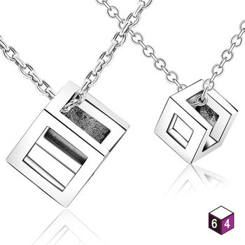 ART64 項鍊 情侶對鍊-Love message 回 925純銀對鍊
