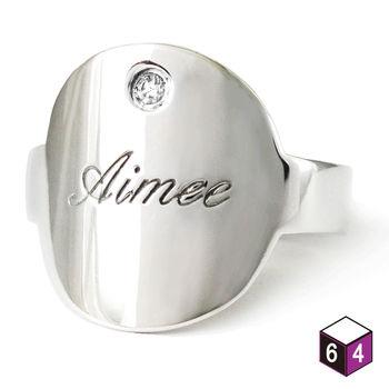 ART64 訂製 姓名戒指-橢圓牌 925純銀戒指