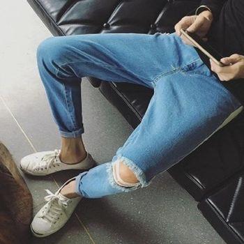 【協貿國際】側邊白條修身牛仔長褲男士單件