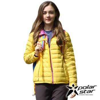 PolarStar 女 超輕連帽羽絨外套『土黃』P15236  防風|防潑水  輕量合身設計,舒適保暖好活動