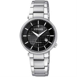 CITIZEN Eco-Drive 都會光動能女錶-黑x銀/30mm EW1790-57E