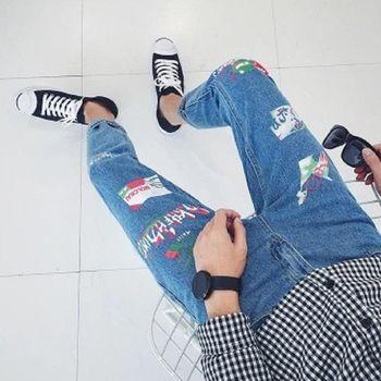 【協貿國際】字母印花牛仔長褲男士韓版單件