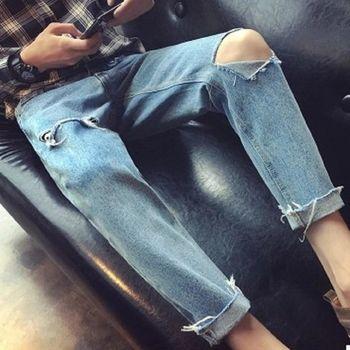 【協貿國際】藍色水洗牛仔長褲男士韓版單件