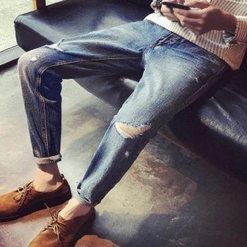 【協貿國際】男士寬鬆破洞褲潮男牛仔褲單件