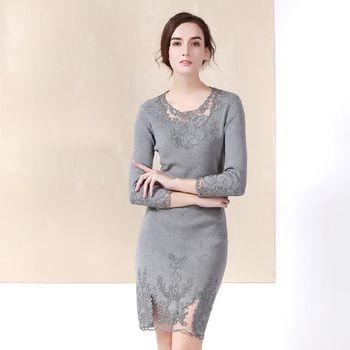 【M2M】圓領透視刺繡網紗針織彈力洋裝(共二色)