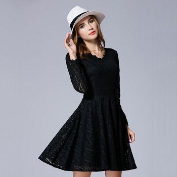 【KVOLL中大尺碼】V領蕾絲簍空氣質大擺洋裝