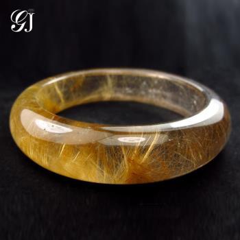 [晉佳珠寶] Gemdealler Jewellery 天然鈦晶手鐲 #18.5 淡茶底金黃板絲 厚實寬版