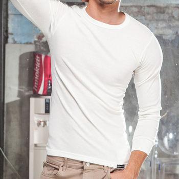 MORINO極暖發熱長袖圓領衫-白色