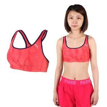 【PUMA】日本線訓練系列花紋短版女運動背心-運動內衣 韻律 有氧 瑜珈 紅藍  彈性下擺