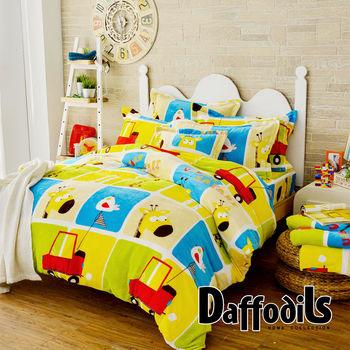 Daffodils《早安小鹿》雙人加大四件式超柔法蘭絨兩用被鋪棉床包組