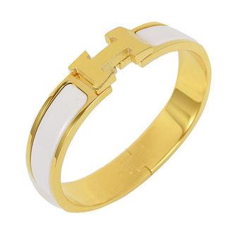 HERMES 新款時尚配件CLIC CRACK 時尚扣式手環.金/白(GM)