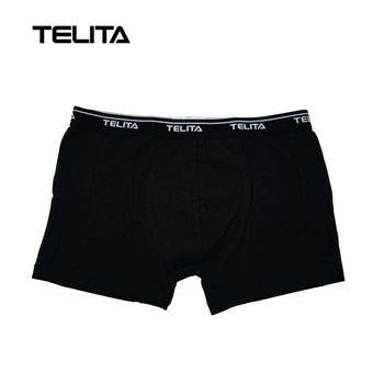 TELITA-男性內褲 彈性素色平口褲 黑色