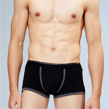 法國名牌 型男萊卡時尚個性平口褲 黑色