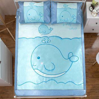 卡通冰絲蓆/涼蓆,冰涼墊 雙人三件組-藍鯨