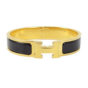 HERMES 新款時尚配件CLIC CRACK 時尚扣式手環.金/黑(GM)