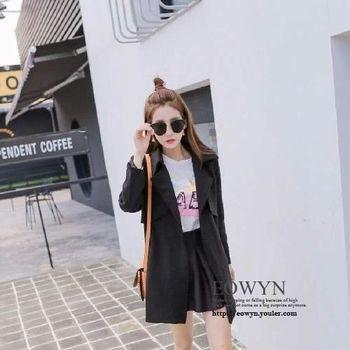 時尚韓版修身顯瘦收腰女中長款女士長袖外套圖片色/均碼