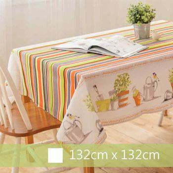 【Robert Green 格林家飾】 布桌巾 花園訪客 132x132cm