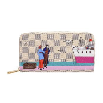 LV N41668 經典Damier棋盤格帆布ZIPPY廣告插畫拉鍊長夾