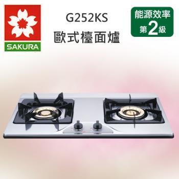 櫻花牌兩口白鐵檯面式G-252KS不鏽鋼面板瓦斯爐(天然瓦斯)