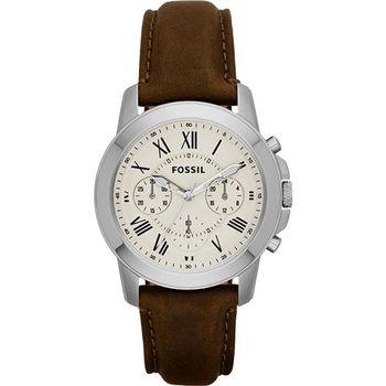FOSSIL Grant 旗艦計時復刻腕錶-卡其x咖啡/38mm FS4839
