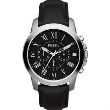 FOSSIL Grant 旗艦三眼計時復刻腕錶-黑/44mm FS4812