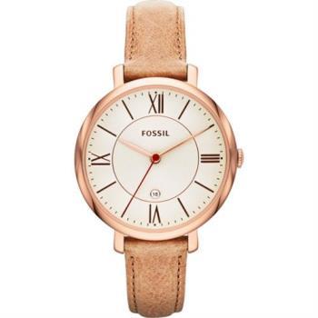 FOSSIL 羅馬風尚仕女腕錶-銀x卡其/36mm ES3487