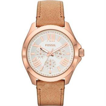 FOSSIL Cecile 羅馬日曆復刻腕錶-玫塊金x卡其/40mm AM4532