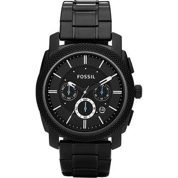 FOSSIL 領航者三眼計時腕錶-IP黑/45mm FS4552