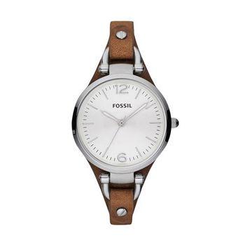 FOSSIL 俏皮女孩時腕錶-銀x咖啡/32mm ES3060