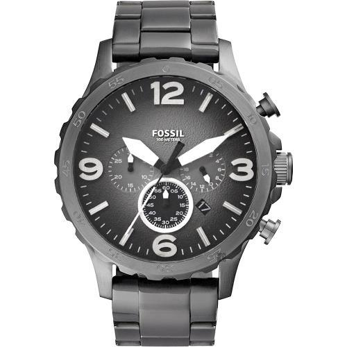 FOSSIL 大世紀戰神三眼計時腕錶-灰鐵黑/50mm JR1437