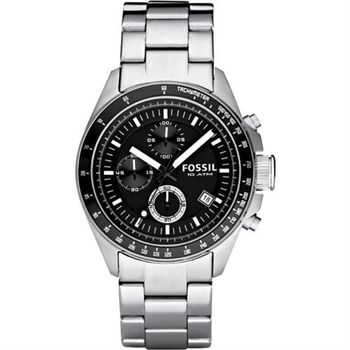 FOSSIL 都會摩登三眼計時腕錶-黑/44mm CH2600