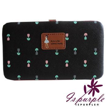 【iSPurple】森林系女孩*硬盒大號手機可掛手拿包/黑