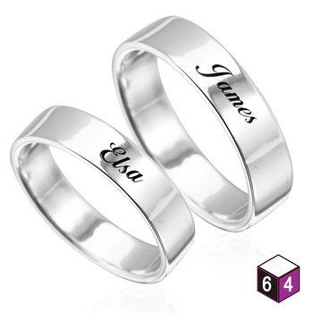 ART64 訂製戒指-情侶對戒 6mm平版刻字  英文 文字 姓名 純銀戒指