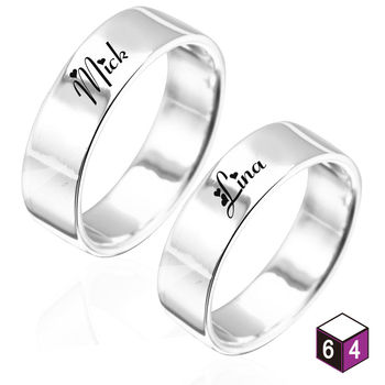 ART64 訂製戒指- 情侶對戒 8mm平版刻字  英文 文字 姓名 純銀戒指