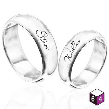 ART64 訂製戒指-情侶對戒 7mm弧形刻字  英文 文字 姓名 純銀戒指