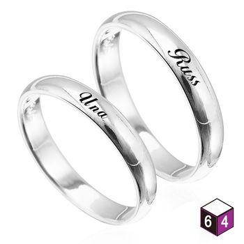 ART64 訂製戒指-情侶對戒 4mm弧形刻字  英文 文字 姓名 純銀戒指