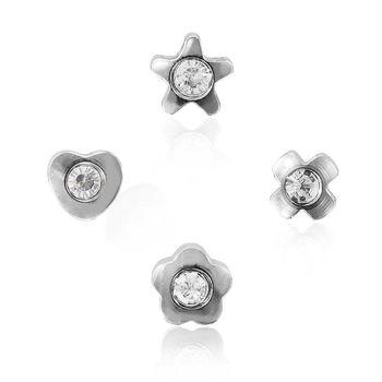 ART64 耳環 抗過敏耳環-幾何美鑽系列 銀色耳針(中)