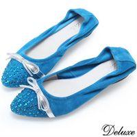~Deluxe~閃亮水鑽蝴蝶結超柔軟娃娃鞋 ^#40 ^#45 黑 ^#45 藍 ^#41