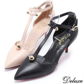 【Deluxe】全真皮法國女伶浪漫尖頭細跟高跟鞋(米★黑)