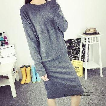 模特實拍秋韓版修身中長款加厚長袖衛衣外套女潮深灰色/黑色/均碼