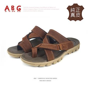 【HANG TEN】軟Q氣墊透氣皮拖鞋-雙色任選  (8070)