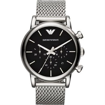 ARMANI Classic 經典風範計時腕錶-黑/41mm AR1811