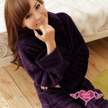 天使霓裳 睡袍 法式甜心柔情 珊瑚絨浴袍(深紫F)