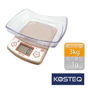 【KOSTEQ】福爾摩莎多功能附盆廚房料理電子秤-3kg(咖啡)