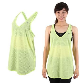 【PUMA】女訓練系列網布運動背心-慢跑 路跑 健身 青綠
