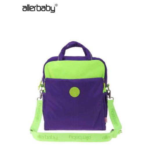 歐美allerbaby 繽紛撞色防潑水多背法媽媽包-紫色款 【MD0013】
